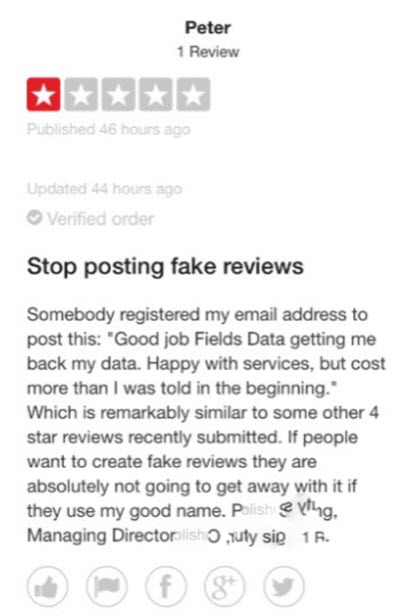 TrustPilot fake review posted by Fields 1