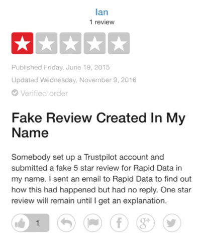 TrustPilot fake review posted by Fields 2